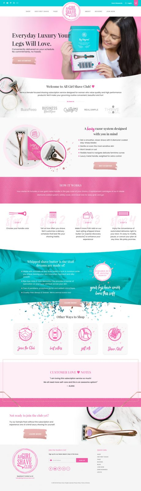 all girl shave club homepage