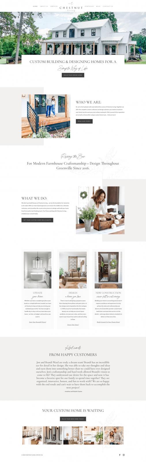 chestnut living website design