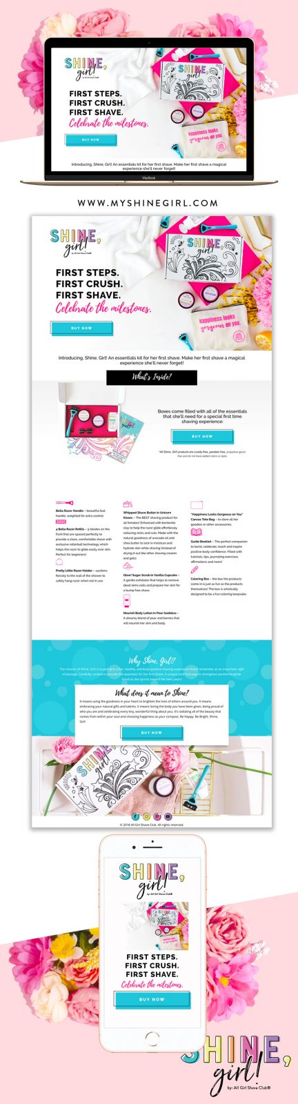 shine girl website design