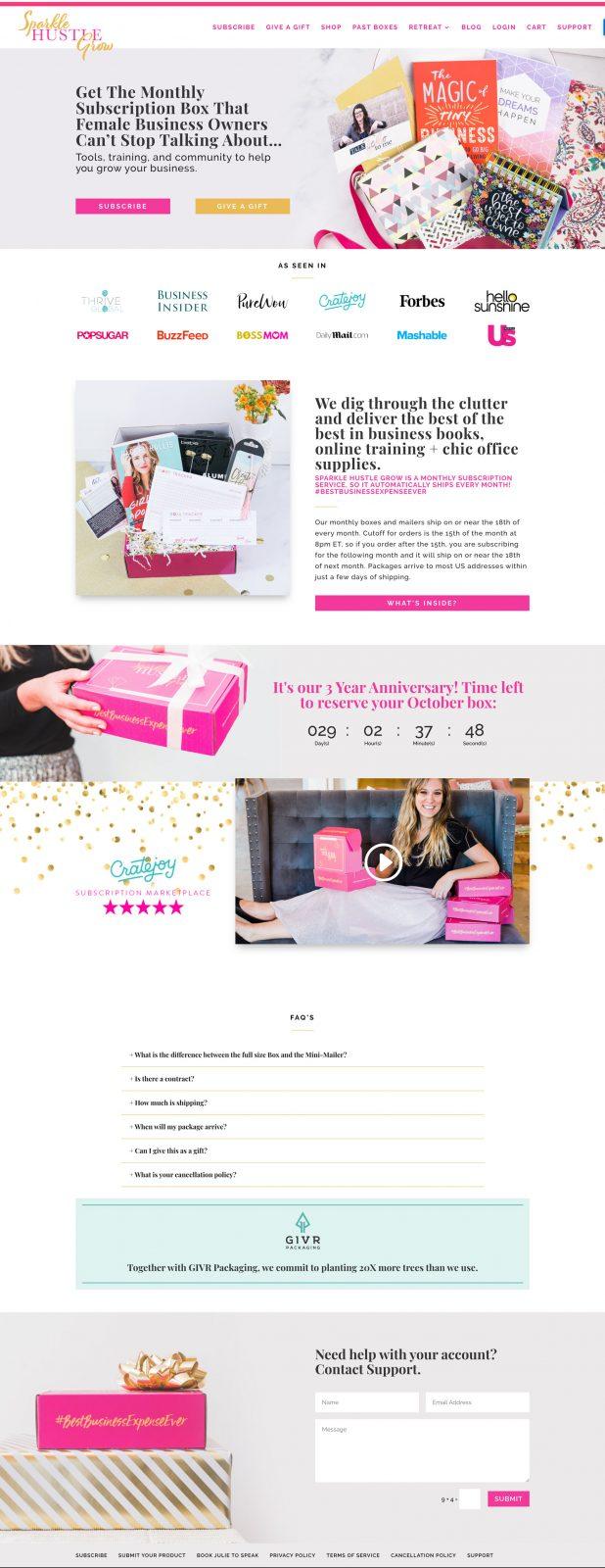sparkle hustle grow website design